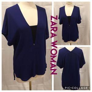 Zara Woman Royal Blue High-Low Tunic Blouse XS